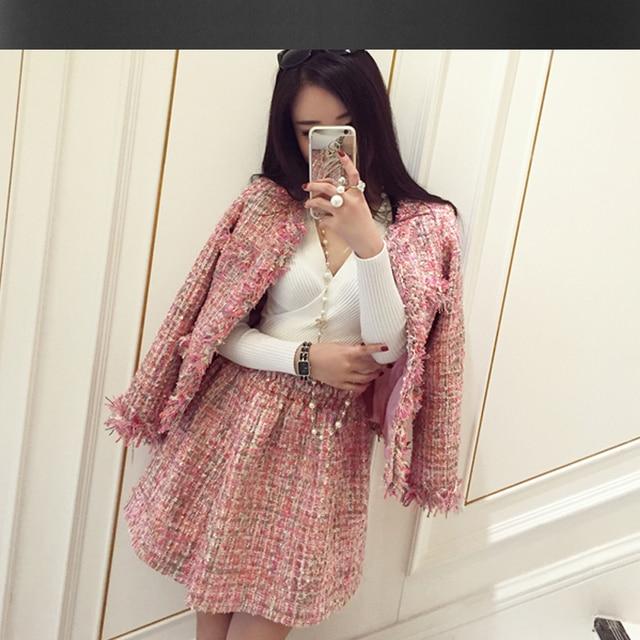 Pink tweed jacket   skirt suit 2017 autumn / winter women's jacket ...