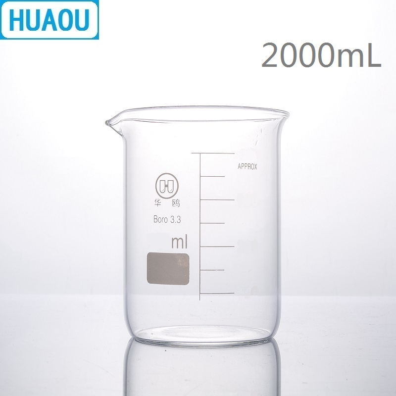 HUAOU 2000mL Beaker Low Form 2L Borosilicate 3.3 Glass with Graduation and Spout Measuring Cup Laboratory Chemistry Equipment 2000ml chemistry laboratory stainless steel measuring beaker cup with pour spout