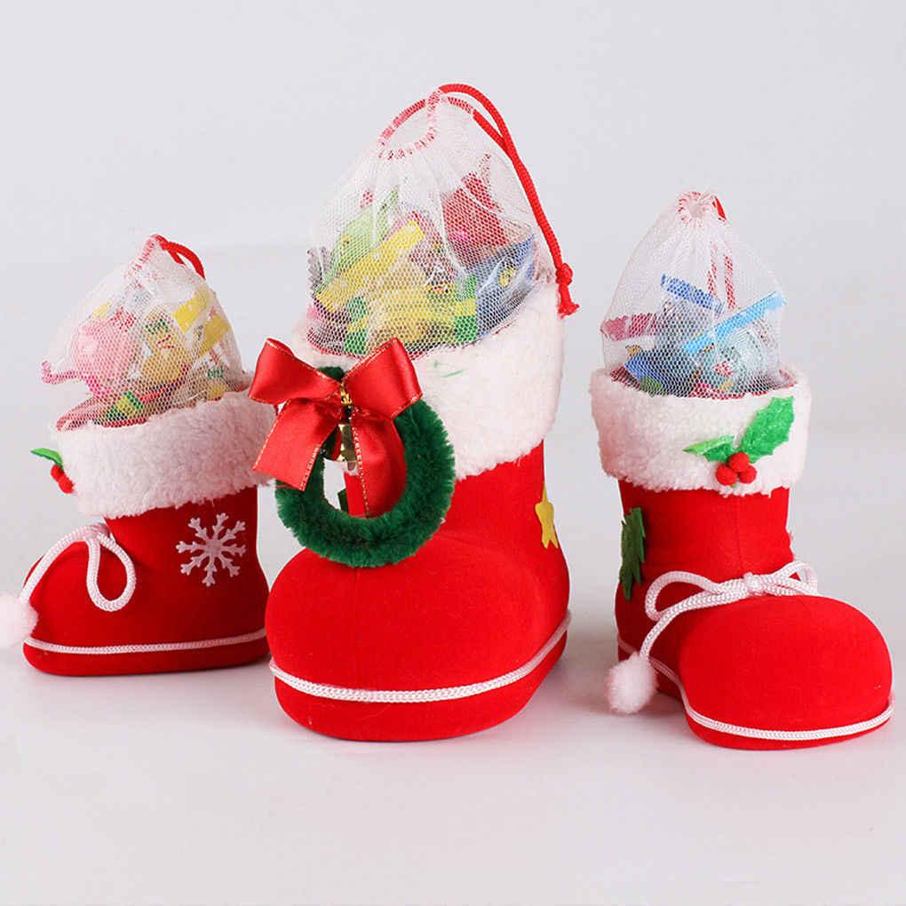 NEUE Weihnachten Santa Stiefel Socken Süßigkeiten Für Kinder Beflockung Weihnachten Decor Geschenk Tasche