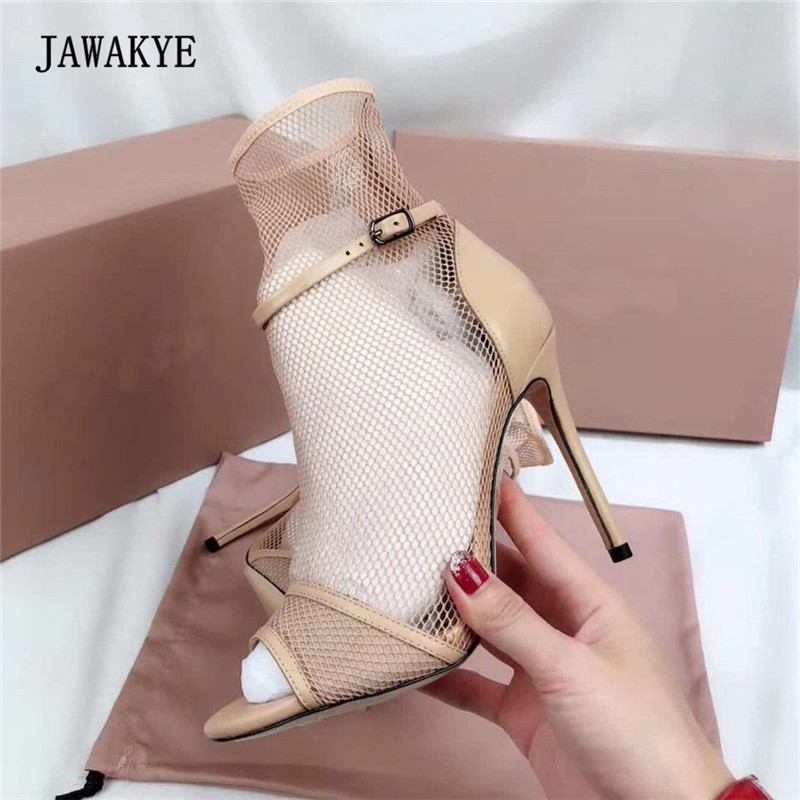 Newest Sexy Mesh Gladiator Sandals Woman Open Toe Beige White Red Black Real Leather High Heel Shoes Women Fashion Wedding Shoe hot sale big size 30 46 fashion summer women gladiator shoes sexy open toe pu leather slip on high heel sandals chd 66