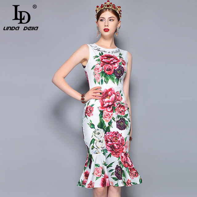 a66e2a3710119 LD LINDA DELLA 2018 Fashion Runway Summer Dress Women's Sleeveless Floral  Print Ruffles Mermaid Party Elegant Dress Bodycon-in Dresses from Women's  ...