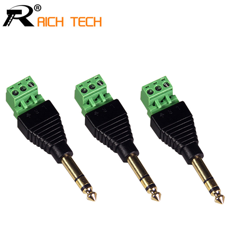 3pcs High quality 6.35mm 1/4 inch Stereo Audio Plug Head Gold Plated Adapter Free soldering areyourshop 6 35mm stereo audio plug head gold plated adapter length 94mm 30pcs high quality wire connector