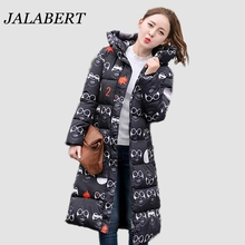 2016 women winter new cotton hooded down padded knee jacket female fashion Glasses star printed longer section Thicken coat