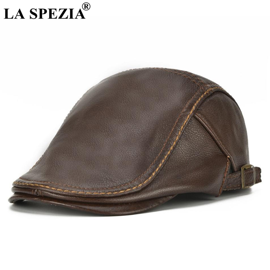LA SPEZIA Autumn Winter Flat Caps For Men Brown Adjustable Duckbill Hats Male Real Cowhide Leather Classic High-End Driving Caps