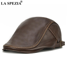LA SPEZIA Autumn Winter Flat Caps For Men Brown Adjustable Duckbill Hats Male Real Cowhide Leather Classic High End Driving Caps