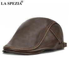 Мужские кепки на плоской подошве LA SPEZIA, коричневые регулируемые шапки-утиные клюшки, мужские классические высококачественные бычьи кожаны...