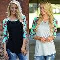 2016 Mujeres Del Verano Floral de La Flor Camisetas 3/4 Femme O-cuello Ocasional de la Camisa Básica T Shirts Camiseta de Las Señoras Tops