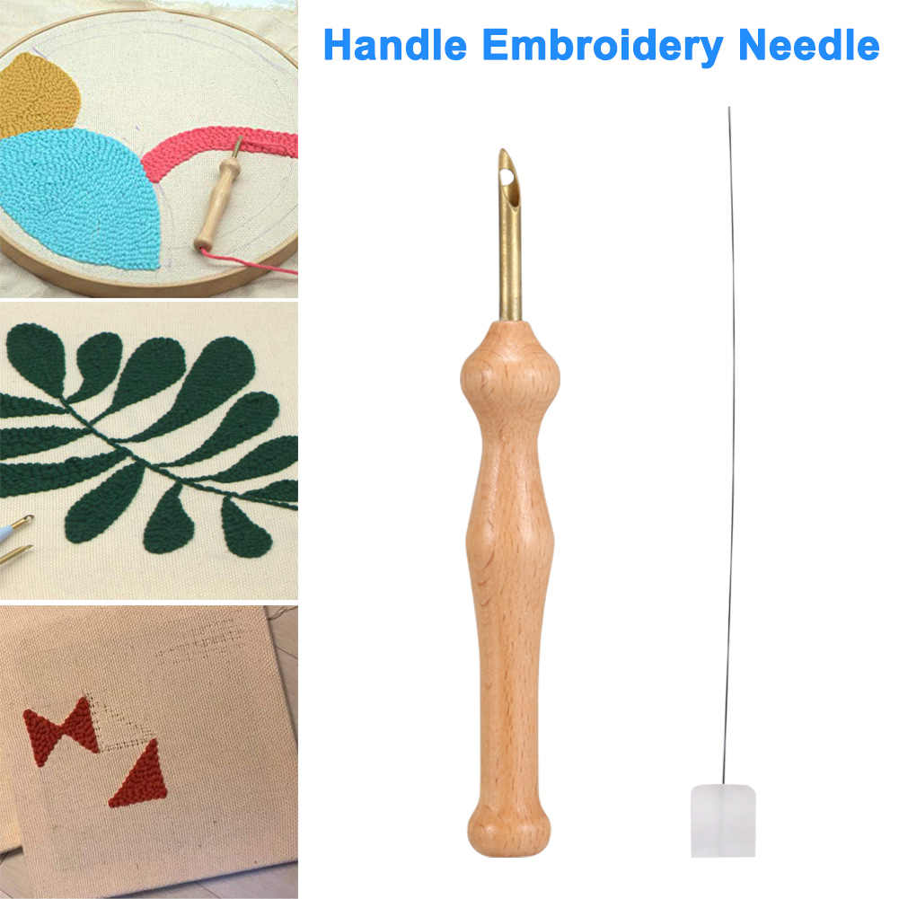 Magic Embroidery Pen Punch Needle Felting Threader Set Wooden Handle Table Cloths Craft Tools DIY Sewing LBShipping