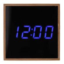 529f3efa017 Despertador Digital de bambu Luz LED Multifuncional Moderna Praça Exibe  Data Temperatura pequeno despertador de madeira