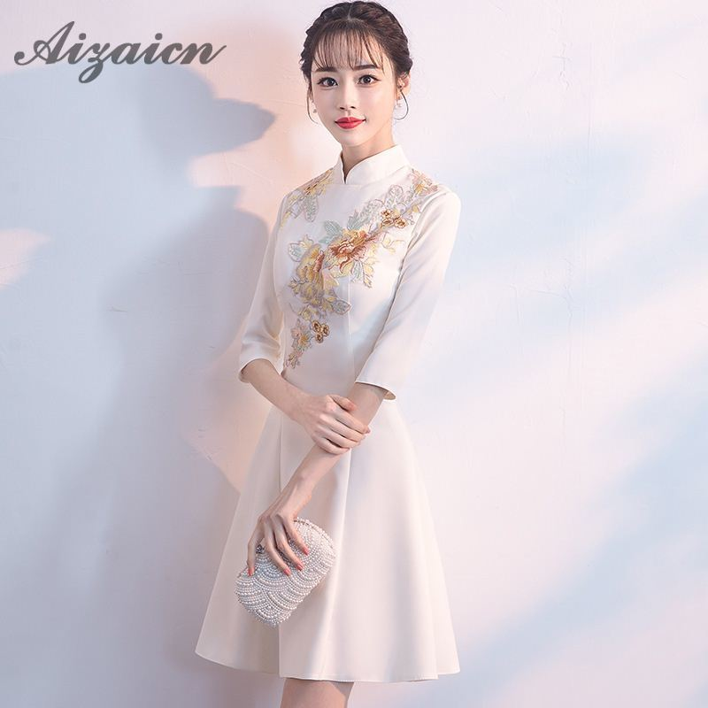 b3444b9cde Summer White Modern Chinese Traditional Women Dress Mini Cheongsam Sexy  Qipao Embroidery Evening Gown China Asian Style Dresses-in Cheongsams from  Novelty ...