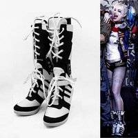 Free Shipping Custom Made High Quality Batman Suicide Squad Harley Quinn Cosplay Shoes For Adult Women