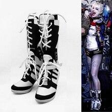Kostenloser versand Maß qualität Batman selbstmord squad Harley Quinn Cosplay Schuhe Für Frauen Halloween Party