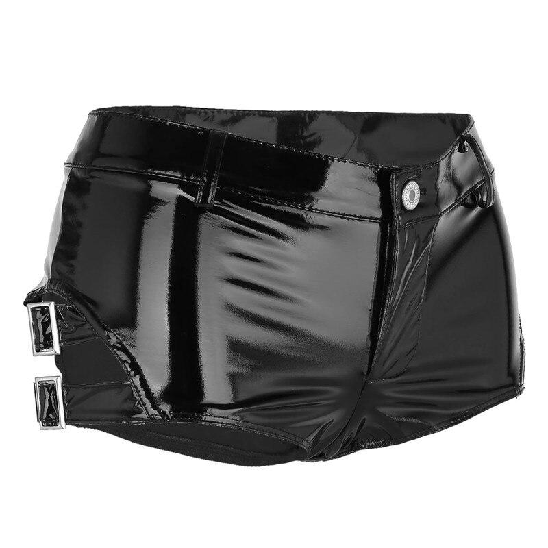 hebillas talle Shorts Rave Shorts Pantalones mojado Booty de Nightclub  pantalones Sexy bajo Clubwear Mujeres de con cortos cuero ... fe9165e7068b