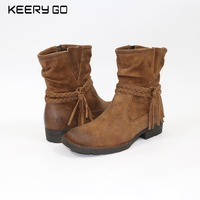 17 Years Of Autumn And Winter New High End Leather Retro Knitting Comfortable Female Boots