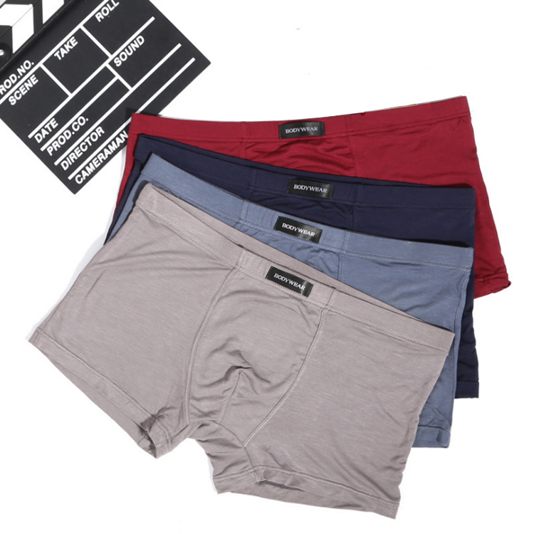 4 Pack New Solid Color Mens Boxer Underwear Breathable Modal Man Boxers Underpants Boxer Shorts