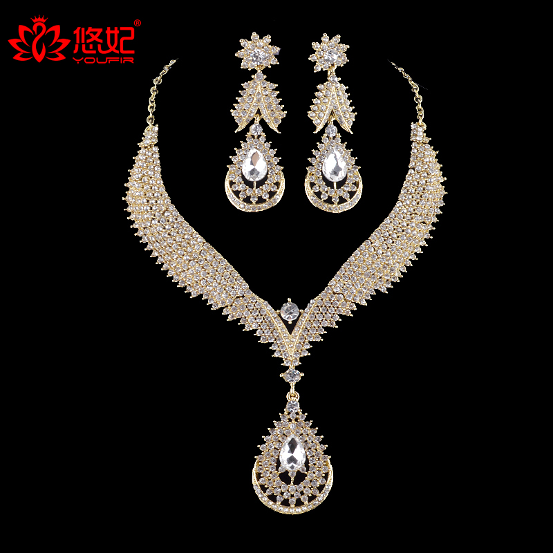High quality india style golden plated bridal jewelry sets women wedding party rhinestone crystal dress necklace and earrings fashionable women s sexy style necklace w crystal inlaid golden