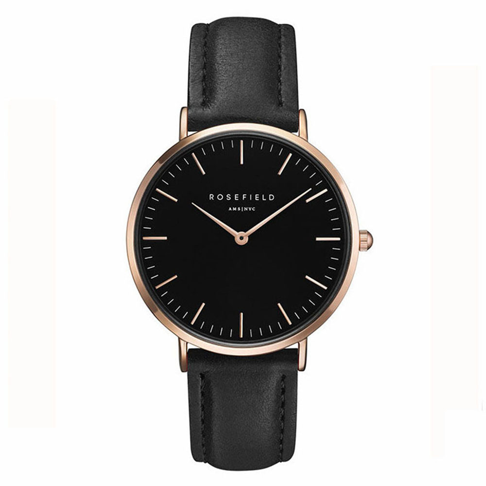 Ladies Ultra-Thin Watch - rose gold - black leather strap - black face