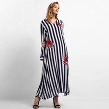 2019 Striped Floral Muslim Abaya Long Sleeve Women Dress Dubai Islamic Arab Moroccan Kaftan Robe muslim dress 4.15