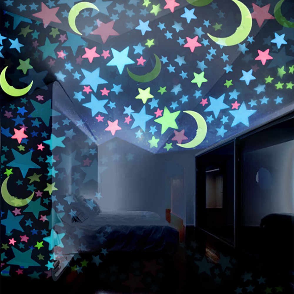 100pcs wall sticker Kids Bedroom Fluorescent Glow In The Dark Stars 3cm blue Plastic Non-toxic creative Moons Wall Stickers F130