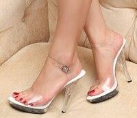 Plus 34 44 Daily Casual 12cm Ultra High Thin Heels Sandals Female Transparent Crystal Platform Bridal