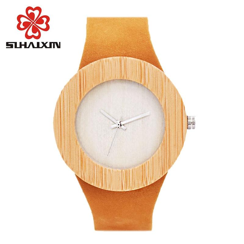 SIHAIXIN Bamboo Wood Watches Menn Fashion Quartz Armbåndsur Leather - Herreklokker - Bilde 3