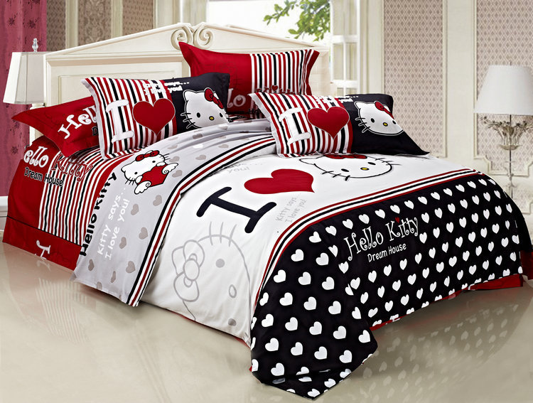 Free Shipping 100 Pure Cotton Red Black White Bedding Set