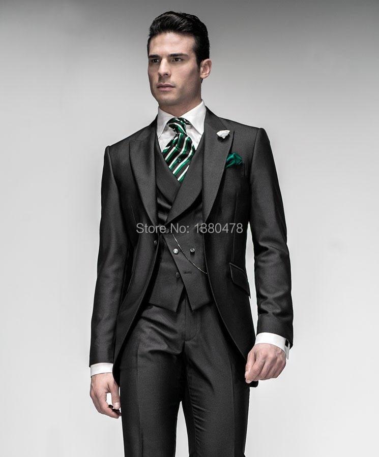 Traje a medida 2016 Estilo de la mañana Trajes negros Mejor Hombre Pico Solapa Padrino de boda Hombres Trajes de boda Novio (Chaqueta + Pantalones + Corbata + Chaleco)