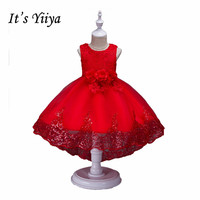 It S YiiYa 5 Colors Bow O Neck Sleeveless Bling Sequined Flower On Waist Pattern Flowe
