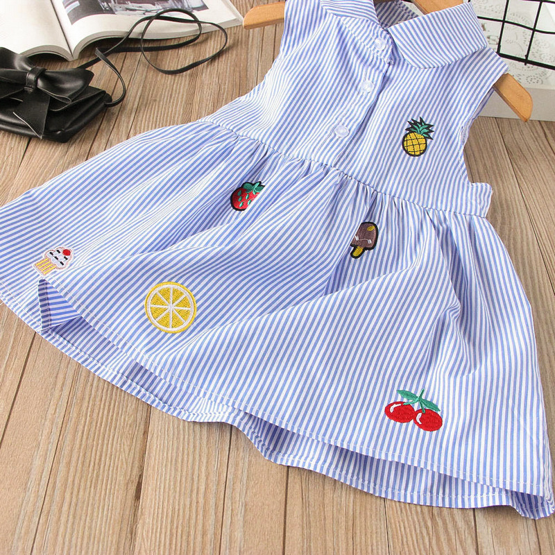 Baby Girls Dress Summer Sleeveless Kids Girl Straped Elegant Kids Blue Pink Dress Fancy Pineapple Orange Cherry Dress kids pineapple print tee with rolled hem shorts