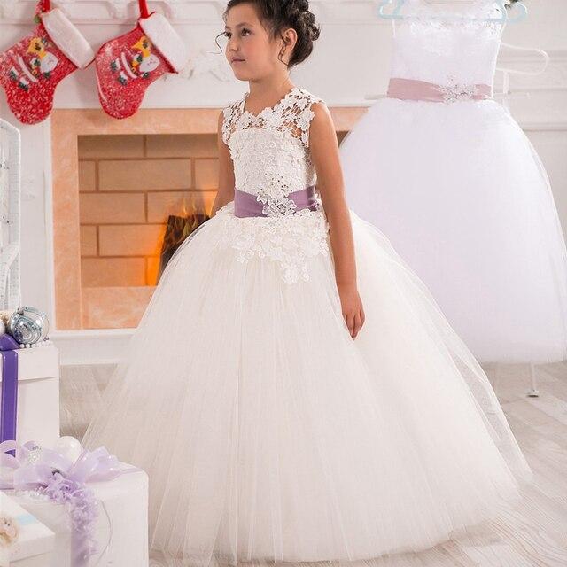 734573b6f11 Классическое бальное выпускное платье из тюля и органзы с кружевной  аппликацией для маленькой девочки розовое бальное