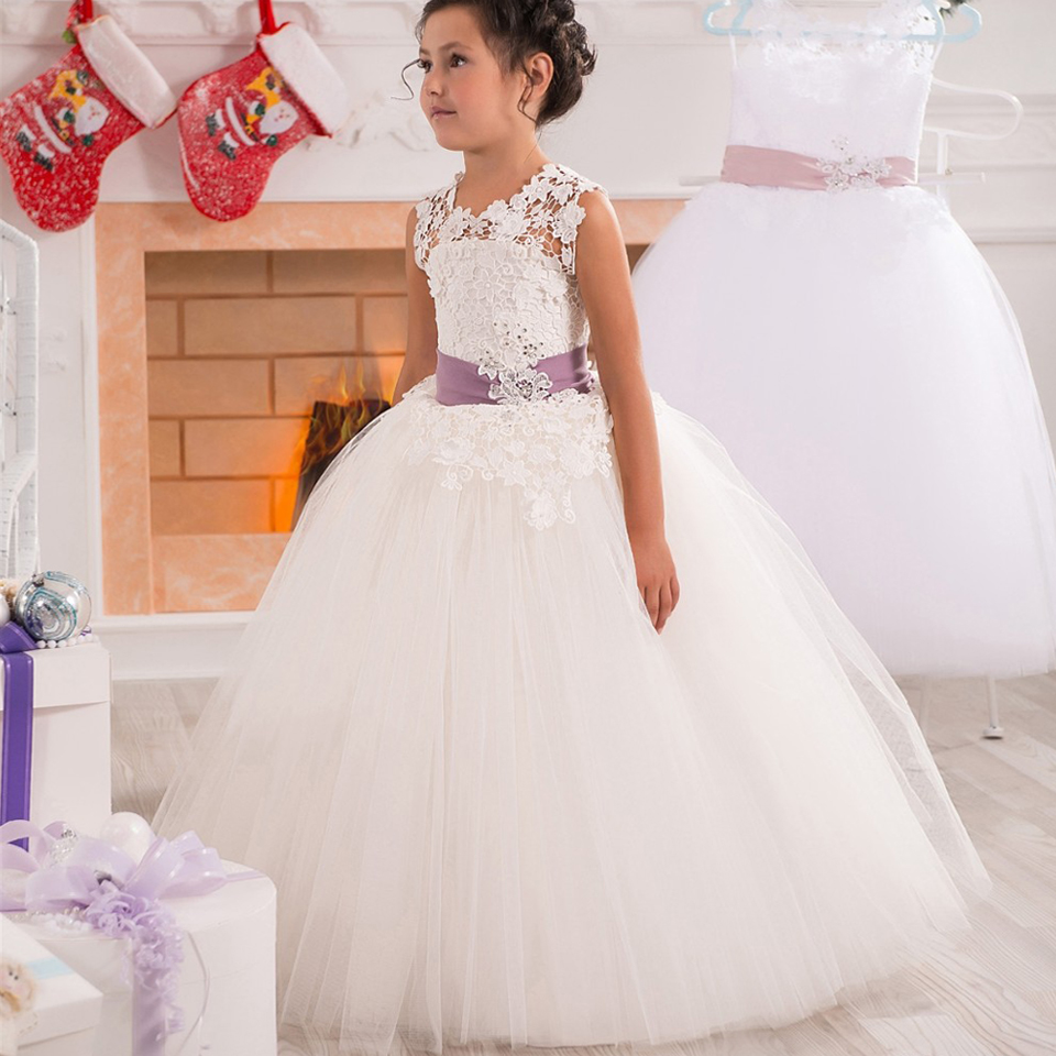 Vintage Prom Little Girl Gowns Lace Appliques Tulle Organza Pink ...