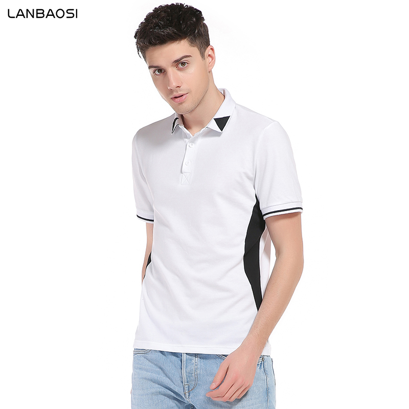 Mens Slim Hipster Short Sleeve Color Block Breathable Polo Shirt