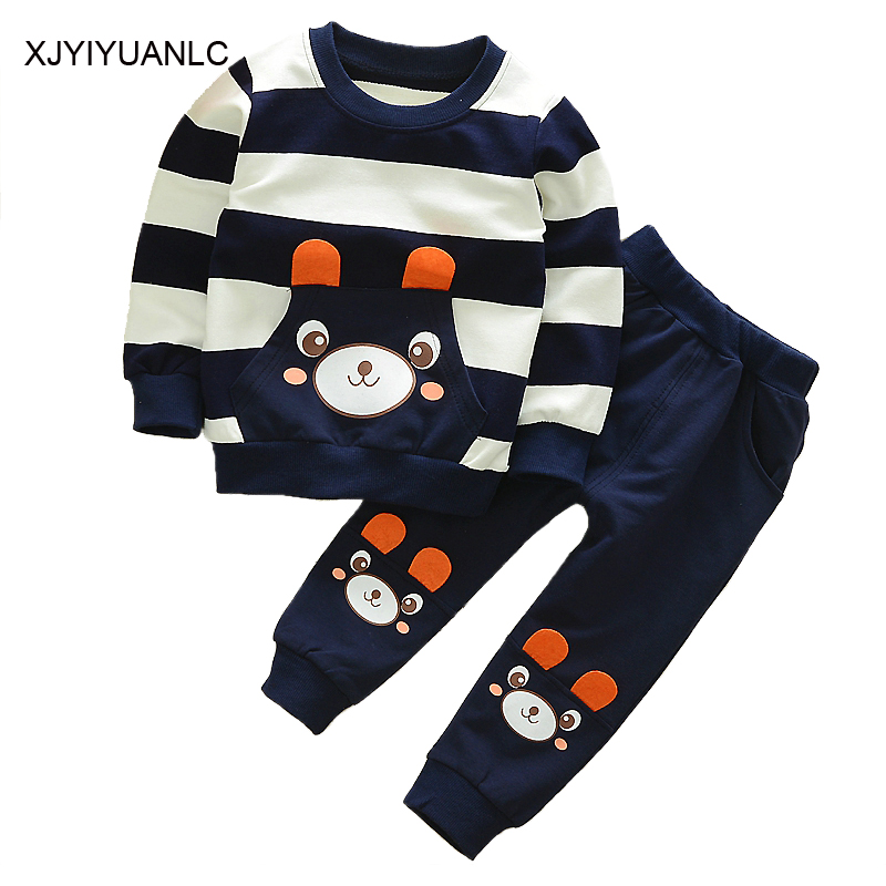 New Boys Clothing Sets Children Cartoon Bear Casual Stripe T Shirts Cotton Tops And Pants Set Baby Kids Clothing Sports Suit