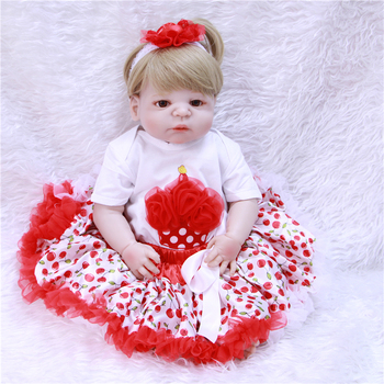 "Full silicone reborn baby dolls 22""55cm bebe realistic reborn girl princess doll lovely dress bonecas reborn de silicone inteiro"