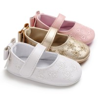 Baby Girl Shoes Cute Bowknot Leather Baby Shoes Anti-Slip Sneakers Soft Sole Toddler Shoes First Walkers Baby's First Walkers