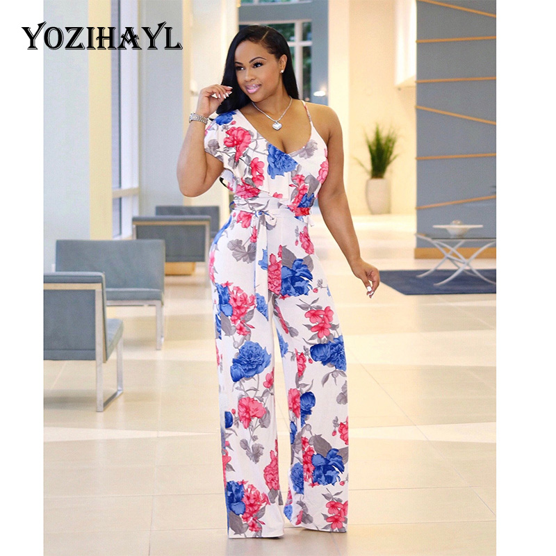 Solid Color V Lead Short Sleeve Rubber Band Waist Chalaza Wide Leg Leisure Woman Jumpsuit Women's Clothing