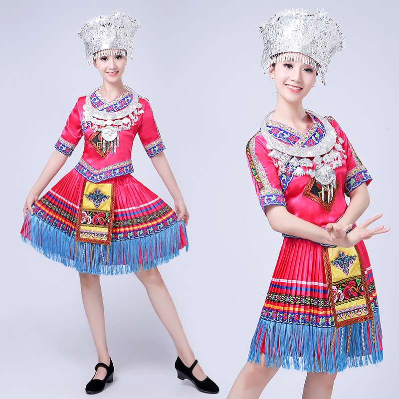 New Miao nationality Dance Costume performance Garment  Yunnan women Square Dancing Dress Tujia clothing Adult Dai dress
