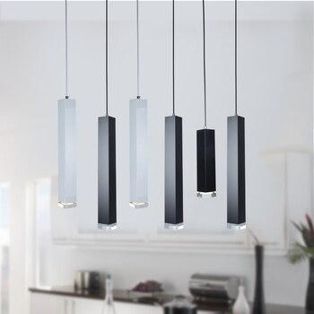 Modern Cuboid Dining Room Kitchen Bar Crystal LED Pendant Light Black White Decoration Lighting Fixture