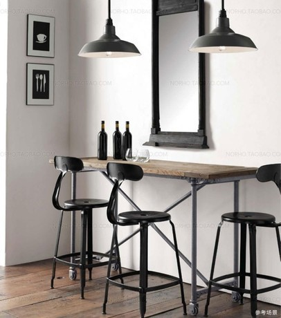 American Country Pub Bar Chairs Reception Wrought Iron Wood Tables