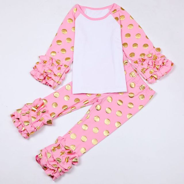 Pink Baby Girls Clothes Set Christmas Outfit Girls Coming home outfit Gold  dot Monogram Ruffle Raglan Shirts and pants free ship e1d8c267c197