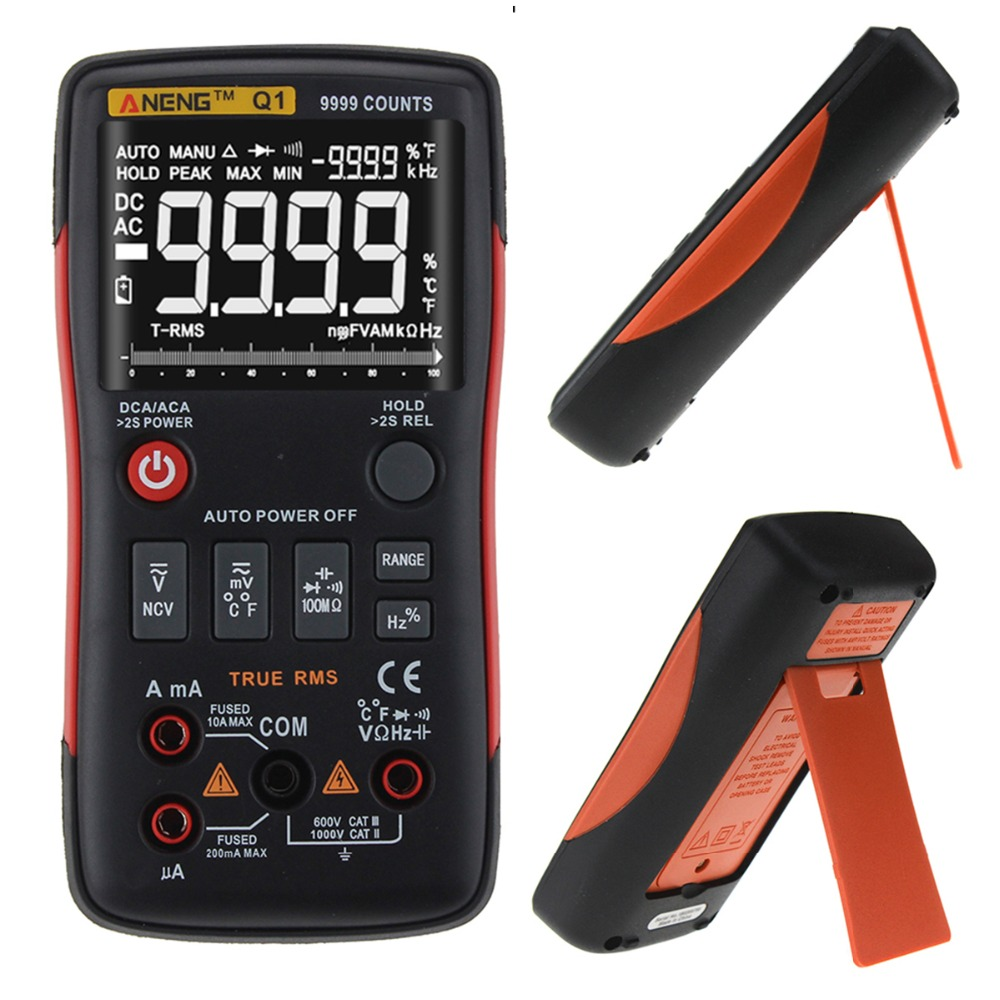 16 in 1 Q1 True-RMS Digital Multimeter True RMS Button 9999 Count With Analog Bar Graph AC/DC Voltage Ammeter Current Ohm Tester true rms multimeter ac
