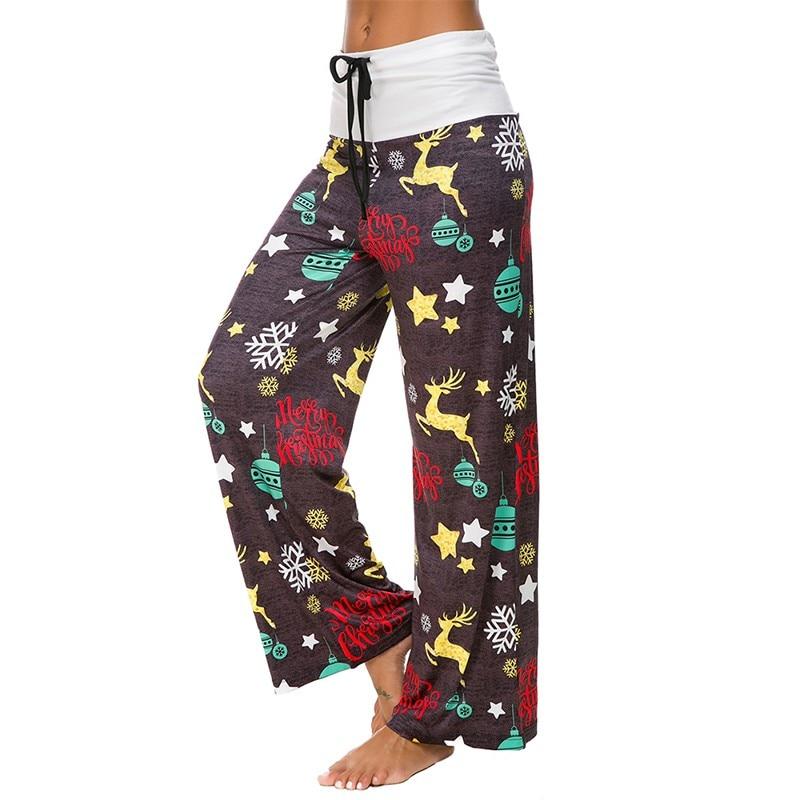 Casual Frauen Weihnachten Hosen Patchwork Hohe Taille Breite Bein Hosen Frauen/'s Jogginghose und Joggers Hosen Frauen Herbst Winter