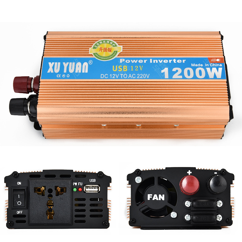 1200W MAX DC 12 V to AC 220 V Car Power Inverter with USB Charging Port
