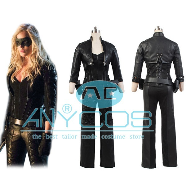 Green Arrow Cosplay Black Canary Sara Lance Artificial Leather Outfit Jacket Gloves Halloween Movie Cosplay Costume Full Set