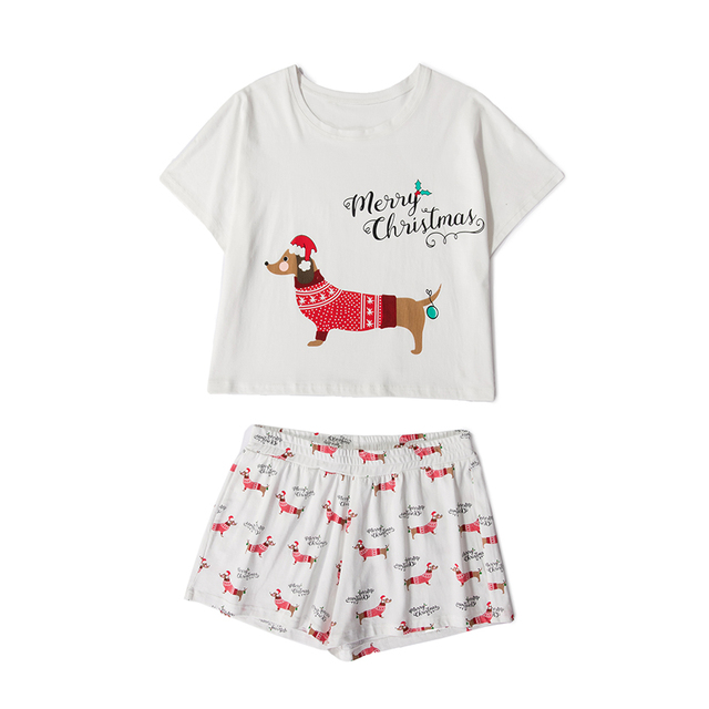 women pajama sets christmas dachshund dog print 2 pieces set crop top shorts elastic waist