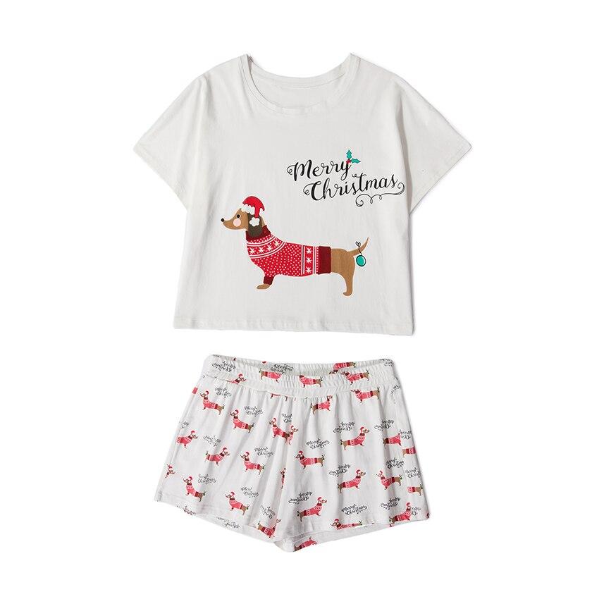 Women Dachshund Print Cute Pajamas Nightwear Dog Set 2 Pieces