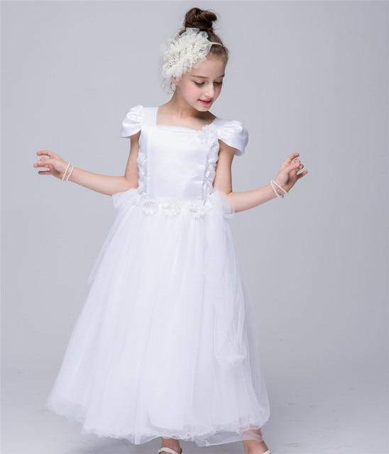 Pink White Flower Girl Dress European Wedding Dresses For Kids 4 5 6 7 8 9 10 12 Years Old Infant Birthday Tutu Girls Zq44