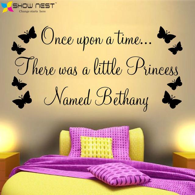Princess Castle Wall Art Sticker Quote Girls Bedroom Nursery Personalized  Name Wall Decals   Butterflies Wall