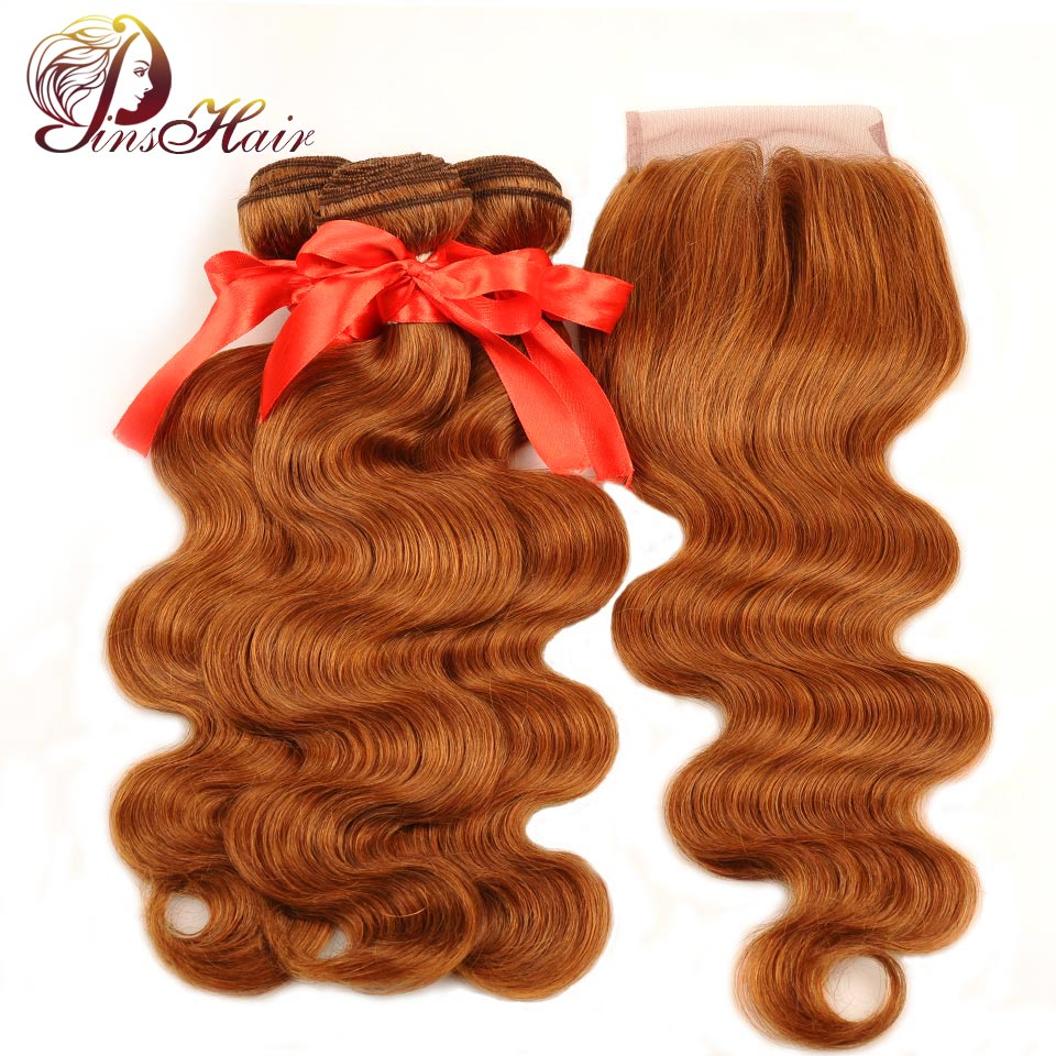 Pinshair Honey Blonde Bundles With Closure Brazilian Body Wave Bundle With Closure 30 Color Human Hair