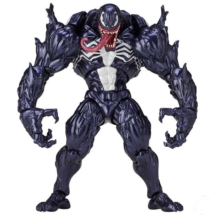 Marvel Avengers Big Size Q Version The Amazing Spiderman Venom Clay Play Arts Revision PA PVC Action Gray Figure Model neca marvel legends venom pvc action figure collectible model toy 7 18cm kt3137